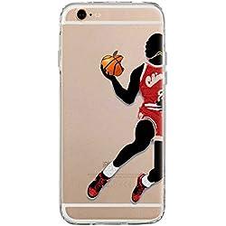 TPU Funda Gel Transparente Carcasa Case Bumper de Impactos y Anti-Arañazos Espalda Cover, NBA Basketball, Jordan Colección Collection, iPhone 6 6S