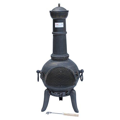 FoxHunter Cast Iron Steel Chimenea Chiminea Chimnea Patio Heater Fire Pit Gold Antique Garden Outdoor New