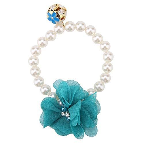 Motto Kostüm Blau - TOPINCN Hundehalsband, elastisch, verstellbar, stilvoll, Kunstperlen, Blumen-Halsband für Katzen, Welpen, Schmuck, Accessoire, Motto-Party-Kostüm, blau