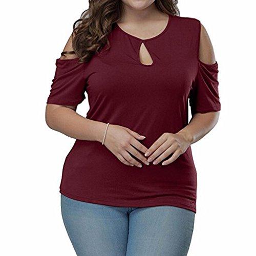 Mode T-shirts sans bretelles femme grande taille solide Rawdah Robe à Manches Courtes Plus Chic Sexy Pour Femmes De Grande Taille Blouse Max Loose Casual Wear (XXXXXL, Vin Rouge)