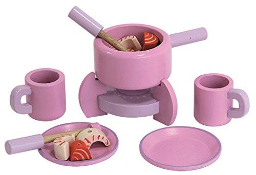 Mentari Fondue Set aus Holz für Spielküche pink mit Zubehör (Pink Spielküche Set)