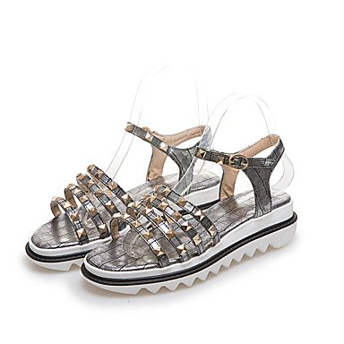 LvYuan Damen-Sandalen-Outddor Kleid Lässig-PU-Flacher Absatz-Andere-Schwarz Weiß Silber Gold Gold
