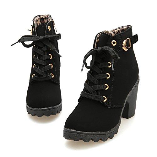 Longra Lace Up Boots tacco alto di modo delle donne Nero