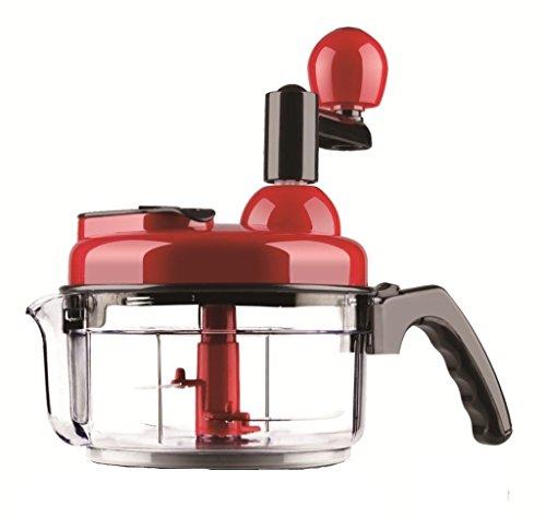 Black/Red : SHINKODA Manual Food Processor, Hand Crank Salad Chopper Meat Grinder Vegetable Chopper Blender Salad Spinner and Mixer , 4 Cup - Black/Red