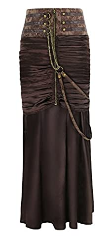 Charmian Women's Steampunk Gothic Victorian Ruffled Satin High Waisted Skirts Brown X-Large