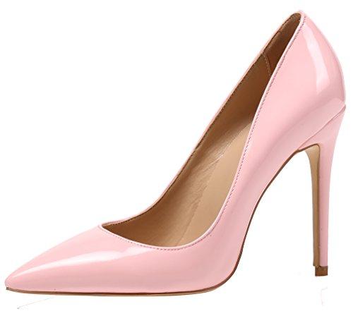 AOOAR Damen High Heel Klassische Rosa Lackleder Büro Pumps EU 40 (Rosa Pumps Größe 11)