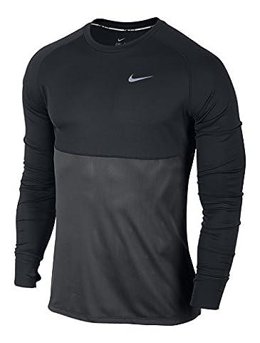 Nike Dri-Fit Racer LS T-shirt pour homme M Negro / Gris / Plateado (Black/Anthracite/Reflective Silv)