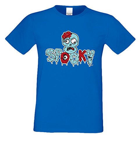 Extrem stylisches gruseliges Halloween-Herren-Fun-T-Shirt als Geschenke-Idee Motiv: Spooky Farbe: royal-blau Royal-Blau