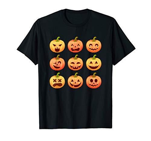 Halloween Kürbis Jack o' Laterne Kostüm Funny Emoji Herbst T-Shirt (Grüne Laterne Kinder Kostüm)