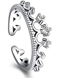 Peora Stylish Silver Plated Princess Crown Tiara High Quality Crystal Adjustable Ring For Women Girls