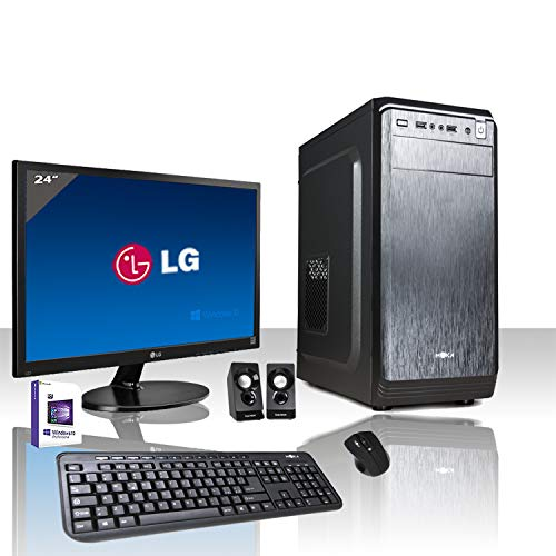 "PC DESKTOP INTEL QUAD CORE LICENZA WINDOWS 10 PROFESSIONAL ORIGINALE/WIFI/HD 1TB SATA III/RAM 8GB 2400MHZ,AUDIO, VIDEO/MONITOR 24"" LED FULL HD HDMI VGA DVI /TASTIERA E MOUSE USB/PC FISSO COMPLETO"