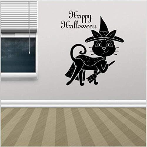 ylckady Magische Schwarze Katze Wandaufkleber Hut Besen Katze Happy Halloween Wandtattoos Halloween Dekoration PVC Wand Poster Vinyl Aufkleber