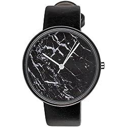 """SIX """"Geschenk"""" edle schwarze Damen Armband Uhr, Zifferblatt in Marmor Design mit auffälligen weißen Zeigern, schwarzes Kunstlederarmband (274-384)"""