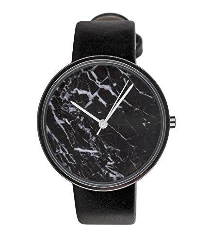 six-geschenk-edle-schwarze-damen-armband-uhr-zifferblatt-in-marmor-design-mit-aufalligen-weissen-zei