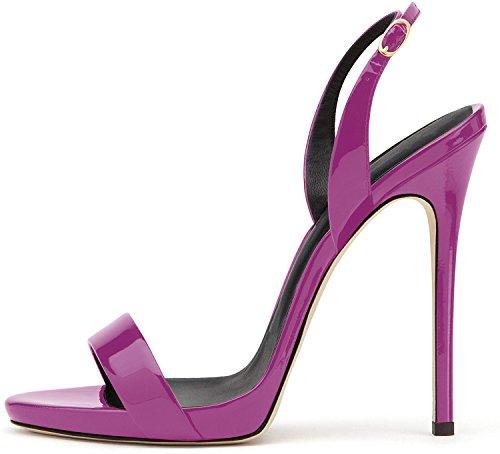 elashe- Scarpe da Donna - Sandali con Tacco Alto - 12CM Sandali- Sandali della Cintura della Caviglia Viola EU35