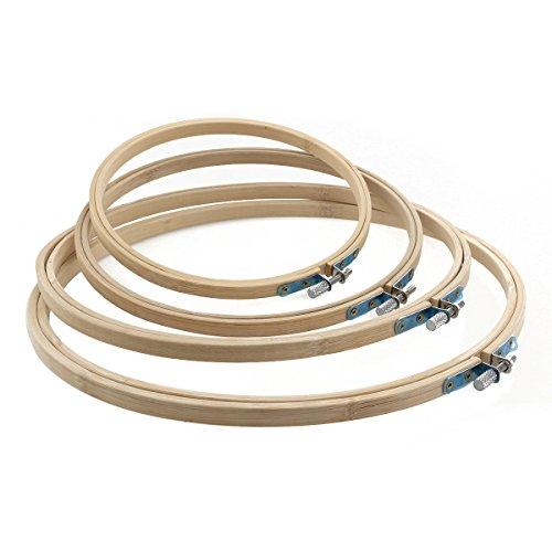 PIXNOR 4pcs 17 20 23 26 cm Tambour bambù cerchio da ricamo ricamo Cross Stitch cerchio anello