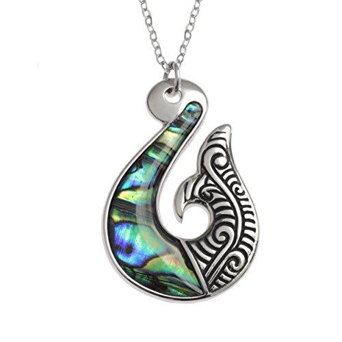 (Kiara Schmuck Maori Tribal Fisch Haken Symbol Anhänger Halskette mit natürlichen grünlichen blau intarsiert Paua Abalone Shell auf 45,7 cm Trace Kette. Silber Farbe, Rhodiniert, Anlauf Geschützt.)