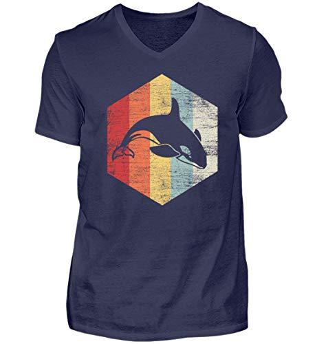 Schwertwal Retro - Orca - Killerwal - Delphin - Delfin - Säugetier - Tier - Wale - Wale - Herren V-Neck Shirt