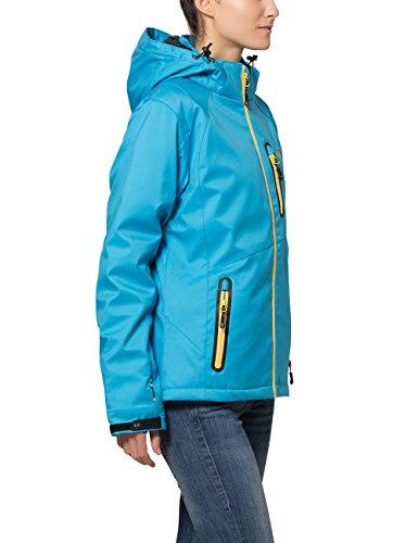 Ultrasport Veste d'extérieur alpine fonctionnelle Softshell Serfaus pour femme avec Ultraflow 10.000 Vivid Bleu/Mimosa