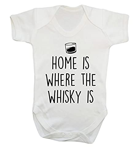 Home is where the whisky is baby vest bodysuit babygrow boys girls unisex