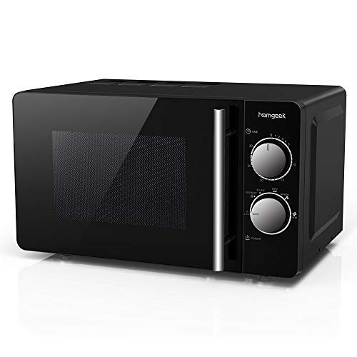 Homgeek 700W Manual Solo Microwave, 20 Litre 0.7 Cubic Feet, Black Compact-Design, 20MX81V-L