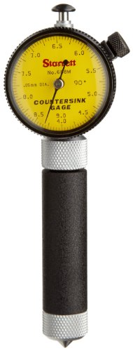 Starrett 688m-2z Millimeter Lesen Kegelsenker Gauge mit Zifferblatt Gelb, 90Grad Winkel, 4–9mm Range