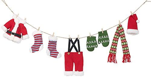 infactory Weihnachtsgirlande: Weihnachts-Deko-Girlande Weihnachtsmann-Wäscheleine, 140 cm (Girlande Stoff)