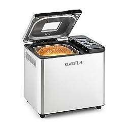 KLARSTEIN Krümelmonster - Brotbackmaschine, Brotbackautomat, 550 Watt, Einstellbarer Bräunungsgrad, Timer, 12 Backprogramme, antihaftbeschichtet, LCD-Display, Edelstahlgehäuse, Silber