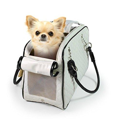 Gwood Haustier Transporttasche Reisebox PVC Tragetaschen Carrier mit Zwei Seitenscheiben für Tiere Hunde, Katzen und Nager,43 x27 x 19cm Weiß & Schwarz Schwarz