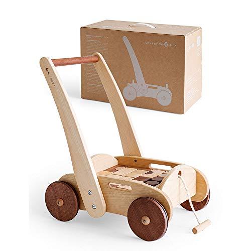 Holz Lernspielzeug höhenverstellbar Kleinkind Kinderwagen Spielzeug 4 Rollen Stehen & Gehen Anti-Roll-Walker Geeignet 6-36 Monate Baby ()