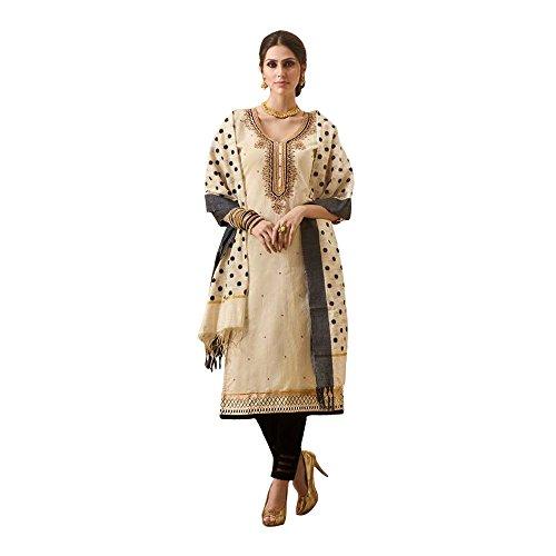 Like A Diva Beige & Black Chanderi Embroidered Salwar Kameez With Banaras...