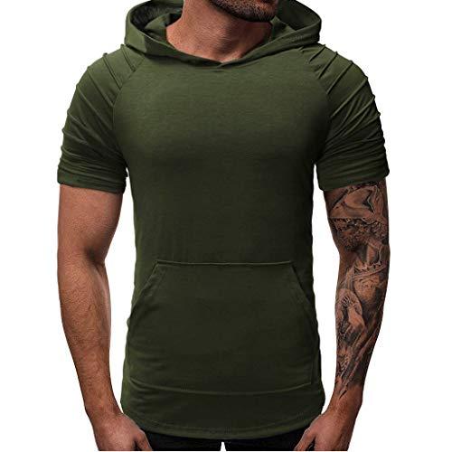 TIFIY T-Shirt Herren, Herren Sommer Herren Falten Slim Fit Tasche Raglan Kurzarm Kapuzenshirt Personalisiertes Hemd Party Bluse -