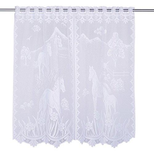 vivaDOMO Maxi-Gardine Pferde, Weiß, Extravaganter Vorhang aus Plauener Spitze und aufwendiger Bordüre, Elegant, Fenster Schutz