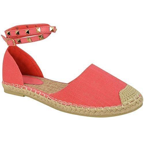 Donne Ragazze Caviglia Con Bretelline Sandali Bassi Espadrillas Di Estate Rock Borchia Scarpe Numeri corallo rosa juta