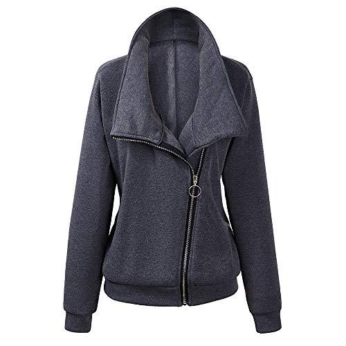 SXZG Herbst Und Winter Frauen Neue Einfarbige Diagonale Reißverschluss Damen Pullover Hohen Kragen Lätzchen Damen Jacke Damen Freizeithemd