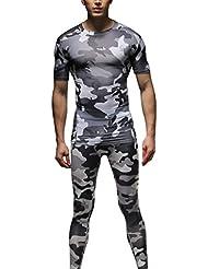 1Bests ropa de entrenamiento de camuflaje de compresión de los hombres 2pcs / set, humedad corriente Wicking traje de deporte de secado rápido transpirable (gris, XL)