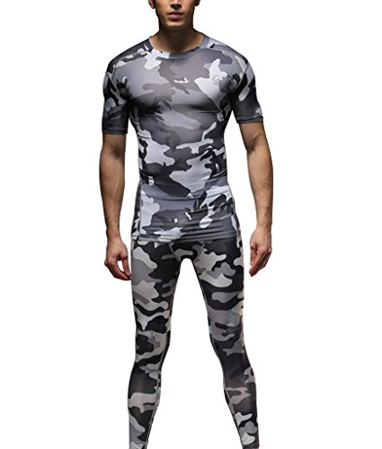 1Bests Hommes 2 Pièces Camouflage Fitness Sportswear Running Training Collants Speed Drying Coat Set (Gris, S)