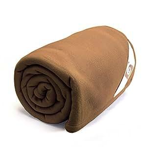 Couverture polaire180x220cm Teddy, Chamois - 100% Polyester 350 g/m2, traité non-feu