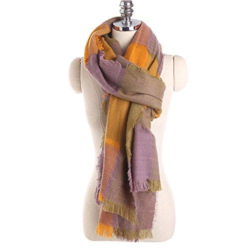 Winter Schal Tartan Schal Frauen Plaid Decke Schal Acryl Basic Schals Damen Schals Fashion warmen Zauber Gitter Schal 240 * 70cm, lila und gelb Plaid Fashion Damen Schals
