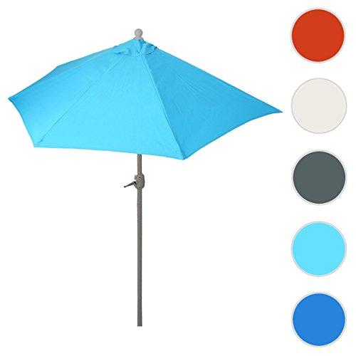 Mendler Sonnenschirm halbrund Parla, Halbschirm Balkonschirm, UV 50+ Polyester/Stahl 3kg ~ 300cm Türkis Ohne Ständer