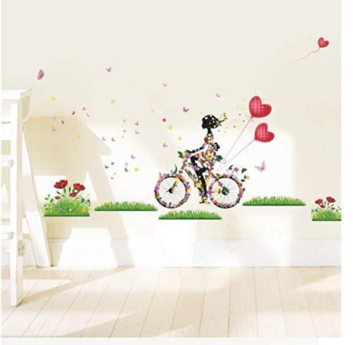 GWFVA Blume fee wandaufkleber für mädchen Zimmer mädchen Radfahren wandtattoos Schmetterling Blumen Herz Ballon Kunst wohnkultur DIY wandbild - Radfahren Herz