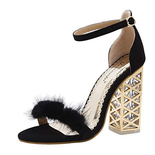 ✿Eaylis Damen Sandalen PlüSch-Blockabsatz Mit Kristallabsatz Sommer Strand Schuhe Hausschuhe Stilvoll und elegant