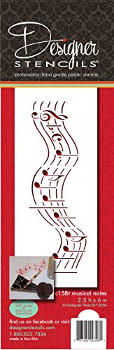 Designer Schablonen c158t Noten Kuchen Schablone (Kurze Version), beige/halbtransparent -