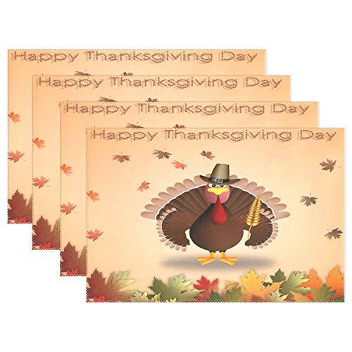 GOODSTHING Tischset, Thanksgiving Turkey Maple Leaf Placemat Table Mat 12