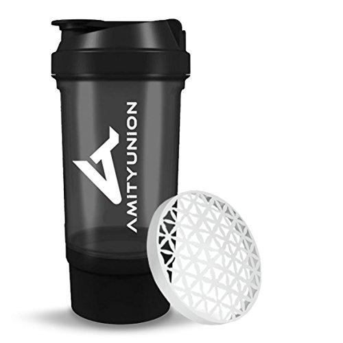 Protein Shaker 700 ml FYRA auslaufsicher - BPA frei mit Pulverfach & Sieb und Skala für cremige BCAA Shakes, Shaker proteinshake Becher, Eiweiß Shaker für Isolate und Iso Sport Konzentrate in Schwarz