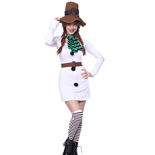 Damen Kostüm Weihnachten Weihnachtskostüm Set Schneefrau Rentier Lebkuchen Frauen Karneval Faschingkostüm Party Dress (Schneemann)