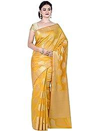 ddd9797ec1635 Chandrakala Women s Cotton Silk Blend Indian Ethnic Banarasi Saree with  unstitched Blousepiece(1295)