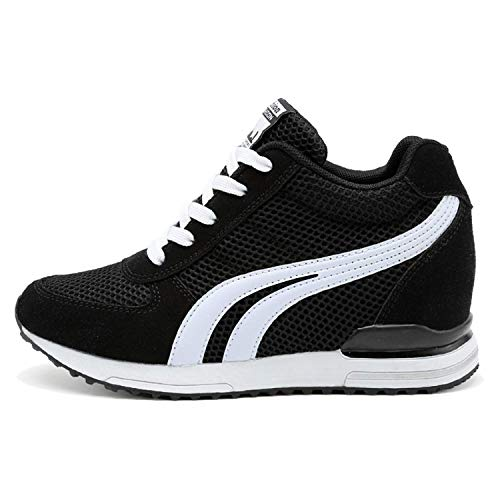 AONEGOLD® Sneakers Zeppa Interna Donna Scarpe da Ginnastica Basse Sportive Fitness Tacco Zeppa 7 CM Nero Bianco Grigio(Nero,38 EU)