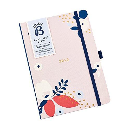 Busy B Terminkalender 2019 für Vielbeschäftigte in hübschem Blumendesign – A5 mit Wochenansicht, Steckfächern und zwei Zeitplänen