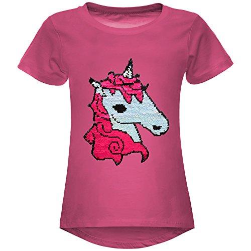 epailetten Stretch T-Shirt Pferde Motiv 22607, Farbe:Pink, Größe:140 (Rote Pailletten-shorts)
